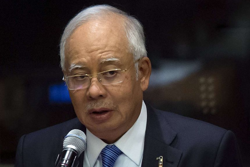 Malaysia's PM Najib Razak speaking during the Global Leaders' Meeting on Gender Equality and Women's Empowerment at the United Nations headquarters on Sept 27, 2015.