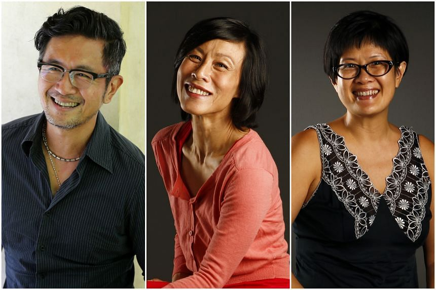 Actor Adrian Pang's (left) theatre company Pangdemonium will tackle the award-winning Broadway rock musical Rent next year. Cast members for the season include heavyweights such as actresses Tan Kheng Hua (centre) and Karen Tan.