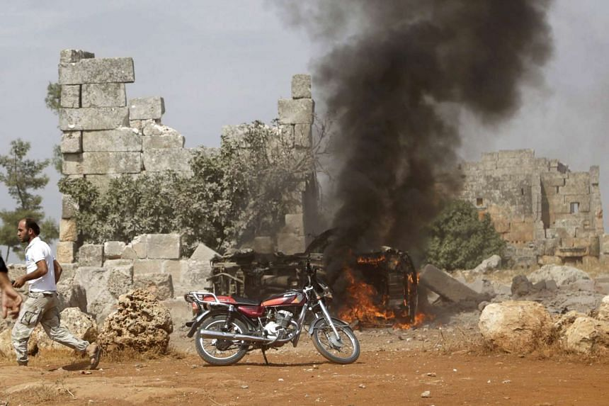 A rebel fighter base said to have been targeted by Russian air strikes.