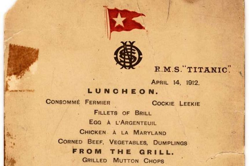 An April 14, 1912, menu from the ill-fated Titanic.