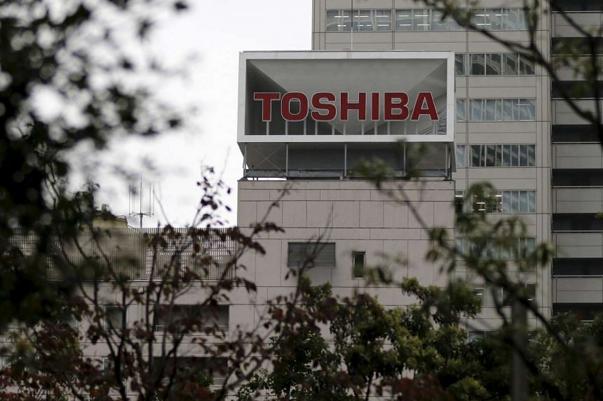 The Toshiba logo is seen at its headquarters in Tokyo, Japan on Oct 1, 2015.