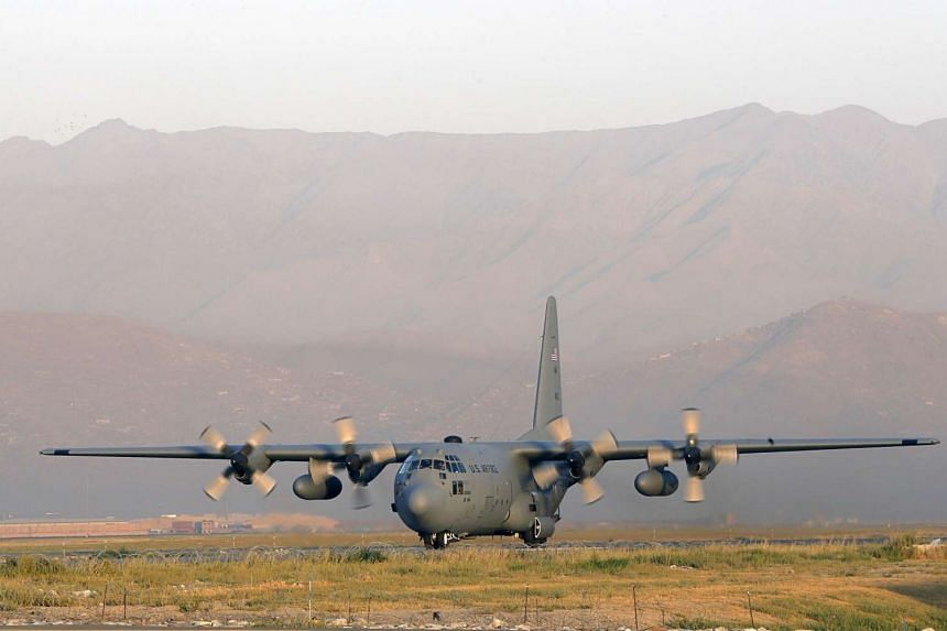 File picture of a Lockheed C 130 Hercules of the US Air Force landing at the Kabul International airport in 2012.