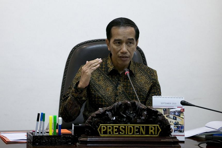 Indonesia's President Joko Widodo at a cabinet meeting at the presidential palace in Jakarta, Indonesia, on Sept 29, 2015.