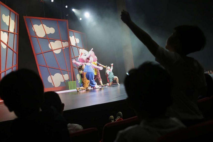 Students from Grace Orchard School enjoying Sharity's musical debut during the inaugural Sharity Day, created by Community Chest and Resorts World Sentosa, at the Resorts World Theatre on Oct 3, 2015.