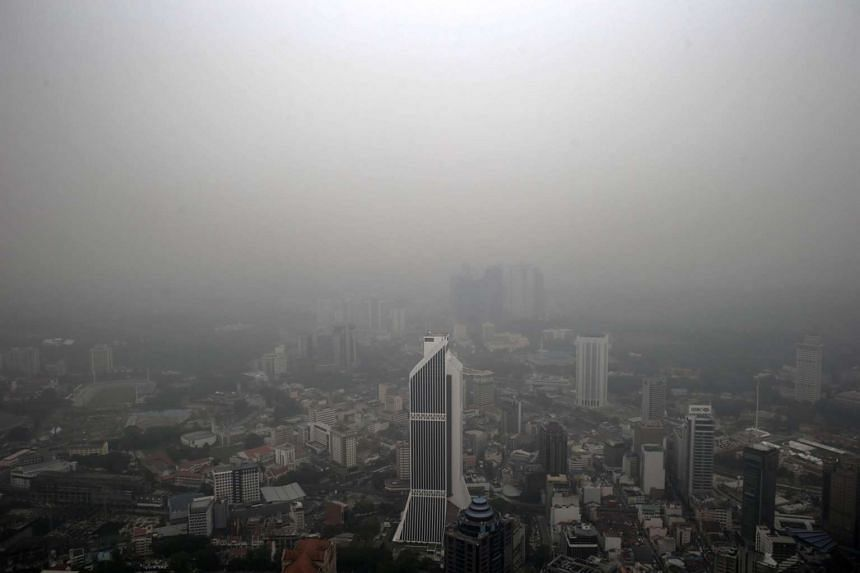 An aerial view of the skyline shrouded in a thick haze, Kuala Lumpur, Malaysia on Oct 02, 2015.
