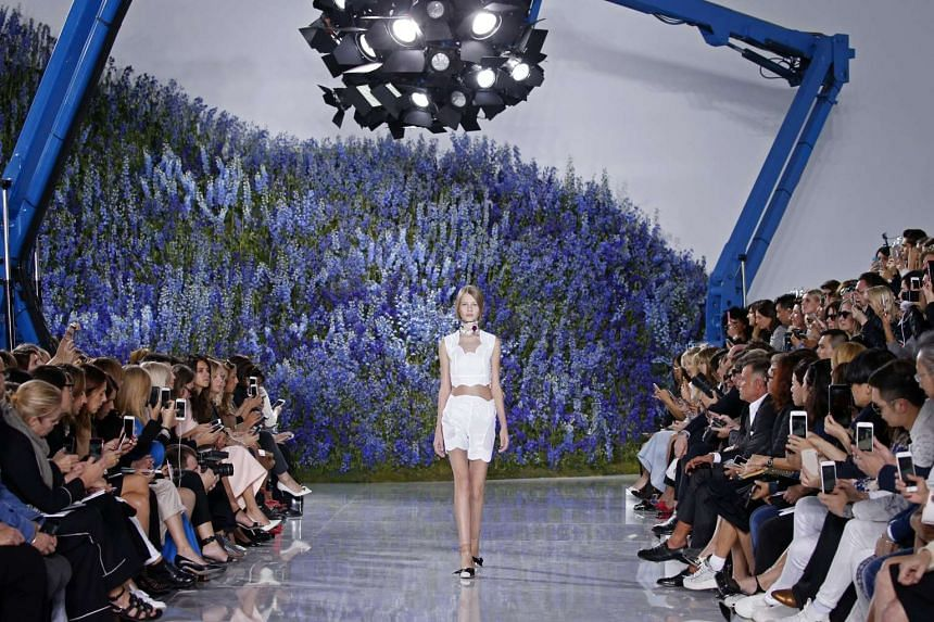 Model Sofia Mechetner presents a creation by Belgian designer Raf Simons as part of his Spring/Summer 2016 women's ready-to-wear collection for Christian Dior fashion house in Paris, France, Oct 2, 2015.