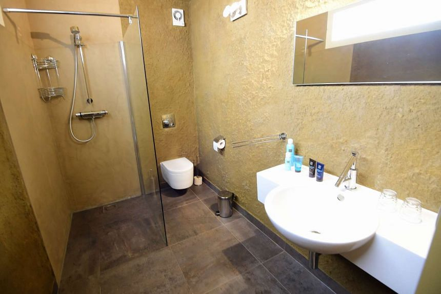 """The bathroom at the """"sandcastle hotel"""" on Oct 2, 2015."""