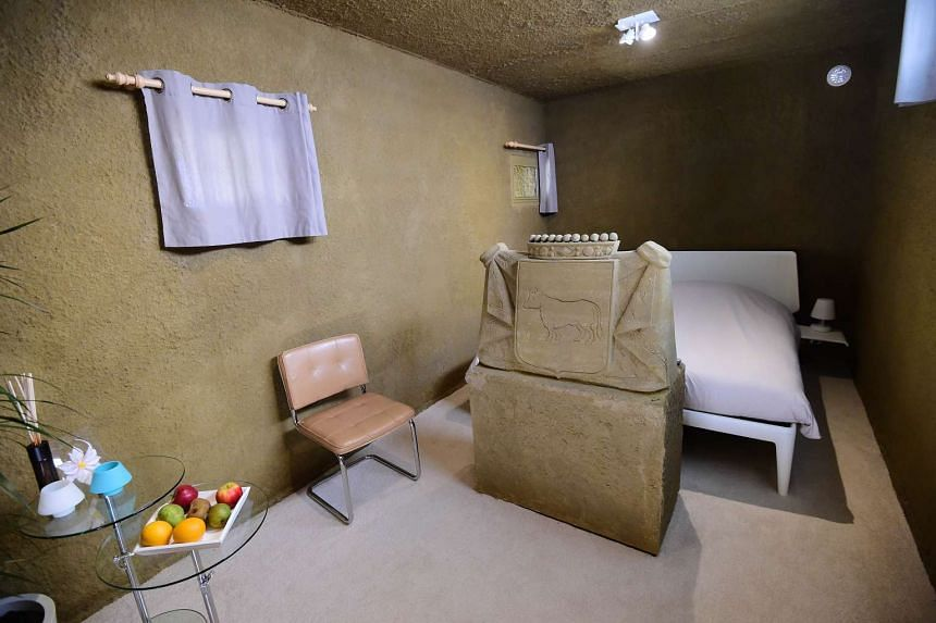 """The bedroom at the """"sand castle hotel"""" on Oct 2, 2015."""
