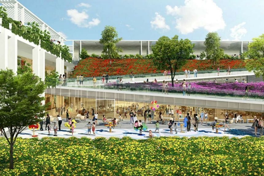 Artist impression of the new generation neighbourhood centre at Punggol, Oasis Terraces.
