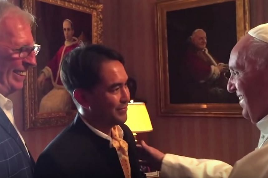 A screenshot from a video of the couple's meeting with Pope Francis.