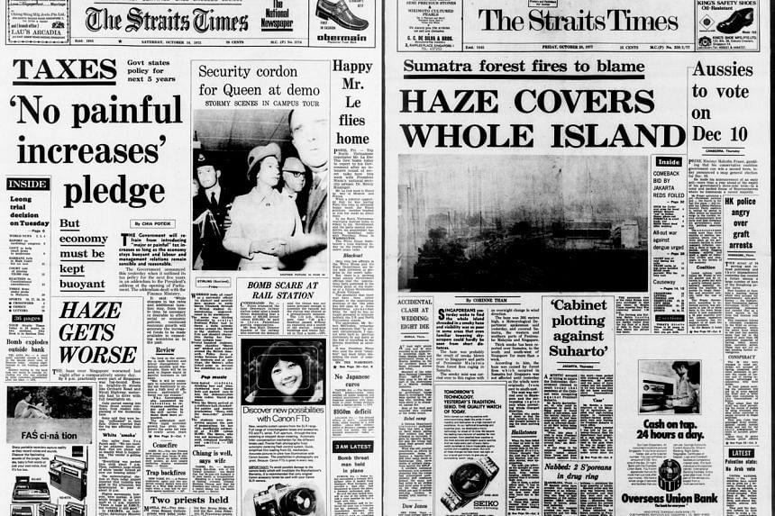"Left: OCT 14, 1972: Singapore has been affected by the haze as far back as 43 years ago, as this Straits Times article, ""Haze gets worse"", shows. Right: OCT 28, 1977: Another Straits Times front-page report, ""Haze covers whole island"", highli"