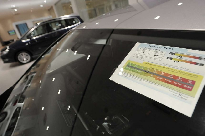 A label on a car in a Volkswagen showroom shows the Carbon Emissions based Vehicle Scheme banding it is in, as well as information on its fuel economy.