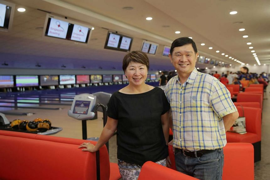 Singapore Bowling Federation president Jessie Phua and executive director of SingaporeBowling Pte Ltd, Amas Tan, at the new 38-lane headquarters which will act as a training base for national bowlers.