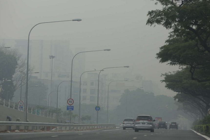 The haze situation along the PIE towards Tuas at 4pm on Oct 3, 2015.