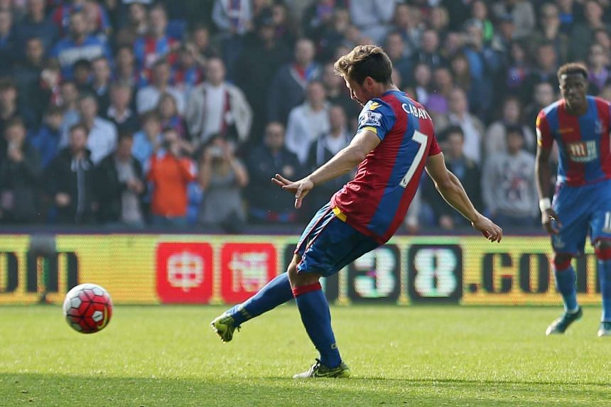 Yohan Cabaye scores the second goal for Crystal Palace from the penalty spot