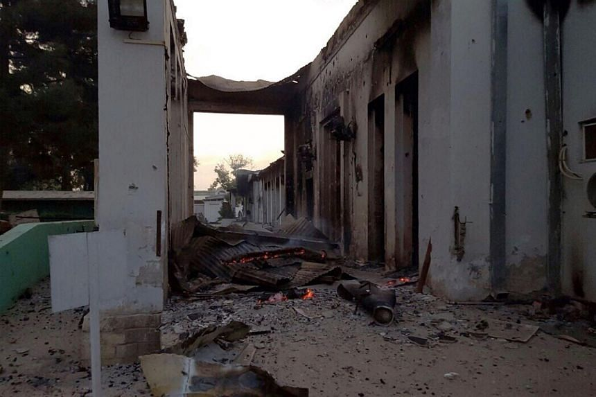 Fires burn in part of the MSF hospital in Kunduz after it was hit by an air strike on Oct 3, 2015. Photo released by Medecins Sans Frontieres (MSF).