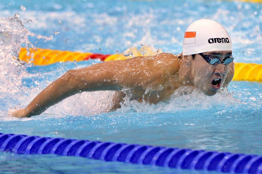 Singaporean swimmer Quah Zheng Wen on his way to claiming a silver in the men's 100m butterfly at the OCBC Aquatic Centre on Oct 4, 2015. He also earned a silver in the men's 50m backstroke.