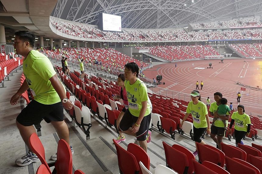 More than 500 participants walked up and down the stairways of the National Stadium yesterday morning in the inaugural Singapore Sports Hub Stepper challenge. They covered 2,000 steps as part of the Community Fun Stepper route and were flagged off by