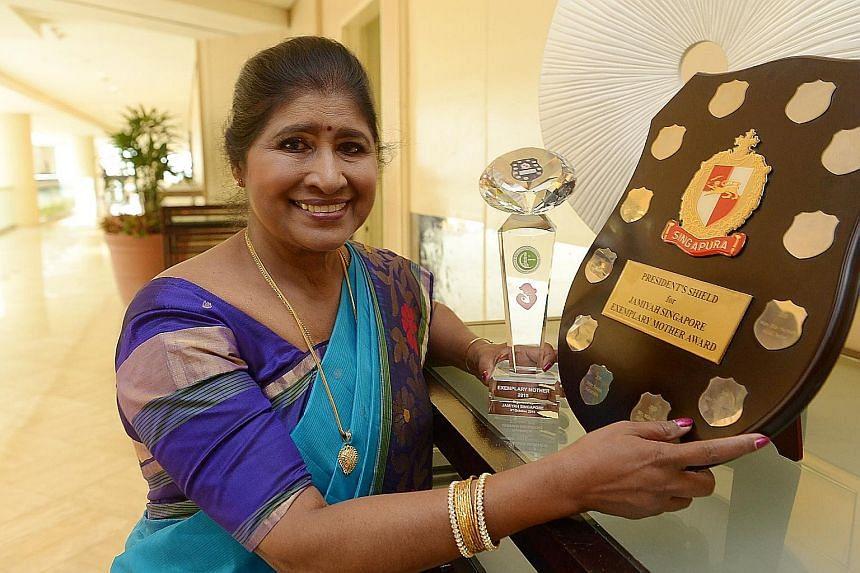 Administrative executive Rajam Sadanandan, 68, won the Exemplary Mother Award.