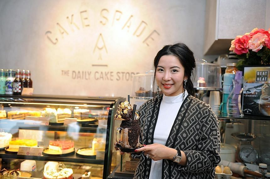 Cake Spade's owner Zenn Ng has perfected the art of balancing every item in the cakeshake so that nothing topples.