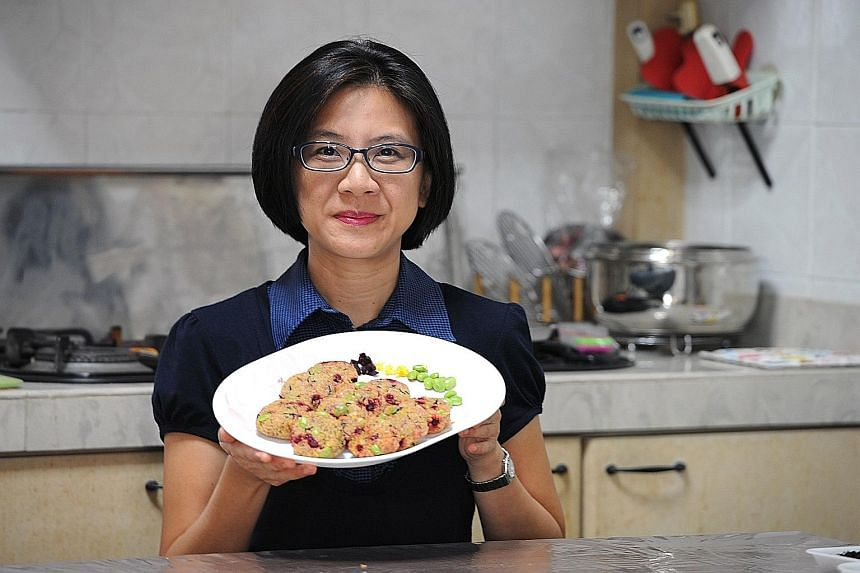 Self-taught baker Nancy Tay added edamame, beetroot and Japanese seaweed to her mini quinoa burger patties.