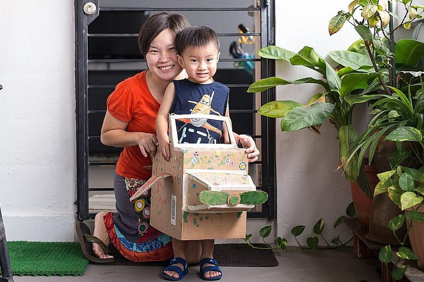 Mrs Adeline Tan and her son, Noah, three, made a cardboard aeroplane two Fridays ago when the haze forced schools to close for a day.