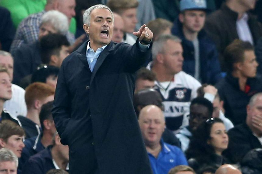 Mourinho gestures during the match between Chelsea and Southampton.