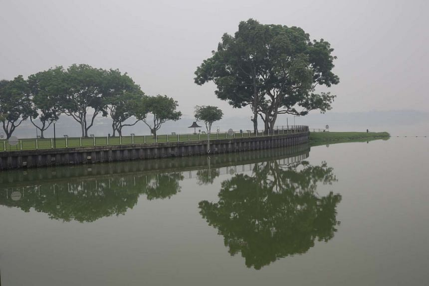 The hazy outlook at Kranji Reservoir at 11am on Oct 5, 2015.