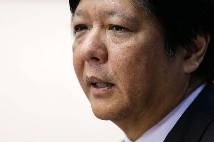 Filipino senator Ferdinand 'Bongbong' Marcos Junior speaking during the plenary debate of the proposed Bangsamoro Basic Law (BBL) at the Senate in Pasay City, south of Manila, Philippines, Sept 23, 2015. Ferdinand Marcos Junior, 57, popularly known a