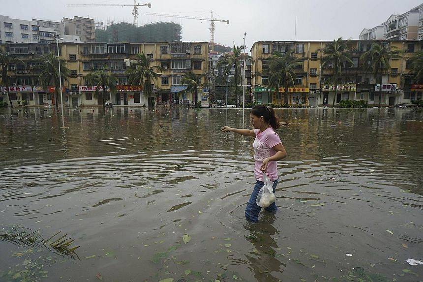 A resident wading through floodwaters in Zhanjiang, Guangdong province, after Mujigae hit the coastal province yesterday. The typhoon felled trees, toppled power poles and flooded roads, although no casualties have been reported.