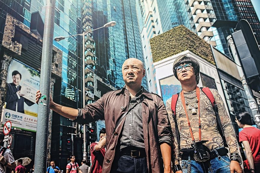 Actor-director Xu Zheng plays a bra designer (left) in madcap comedy Lost In Hong Kong, which also stars Bao Bei'er (right).