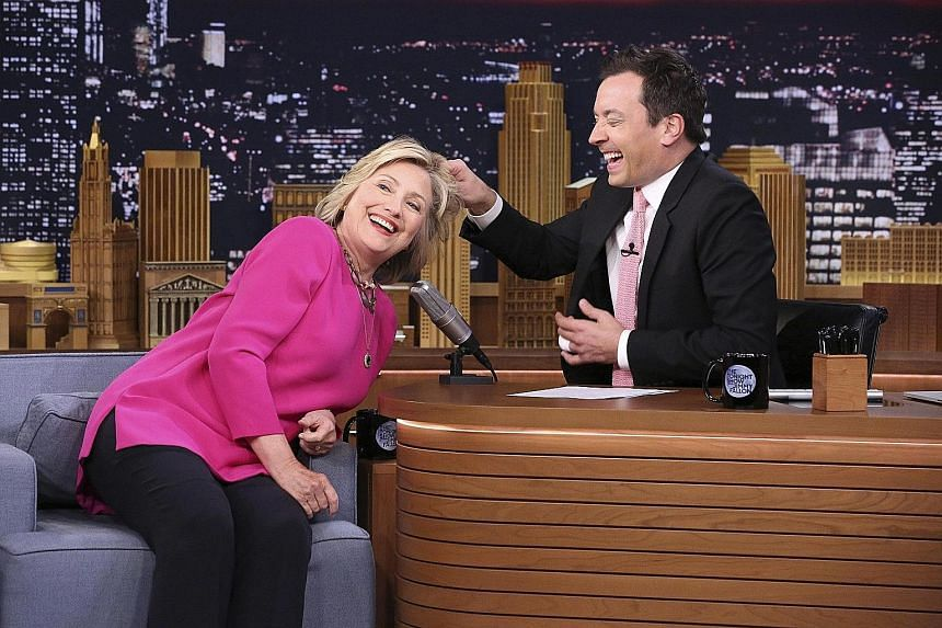 Jimmy Fallon, engaging US presidential candidate Hillary Clinton on his talk show, leads the stakes in the social media race.