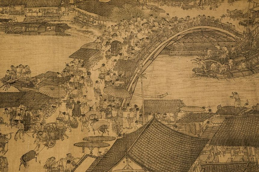 A detail (above) of Along The River During The Qingming Festival.