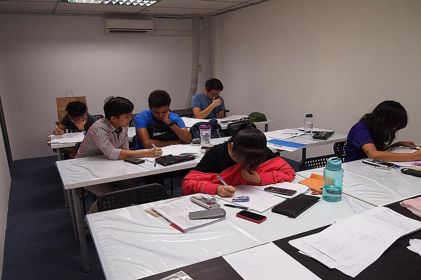 Students at Quintessential Education Centre, which has short courses for O and A levels. Parents should make sure that their children take breaks in between revision.