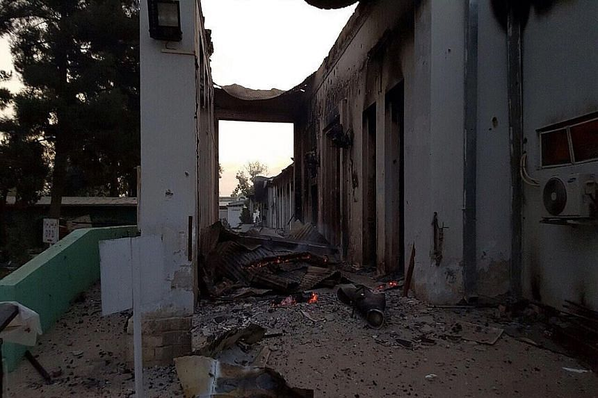 Patients unable to escape burned to death in their beds, said Medecins Sans Frontieres, which provided this image of the fire at its hospital in Kunduz. The UN said the raid could amount to a war crime. An image from Medecins Sans Frontieres shows de