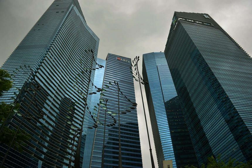 The Marina Bay Financial Centre in the Singapore Central Business District.