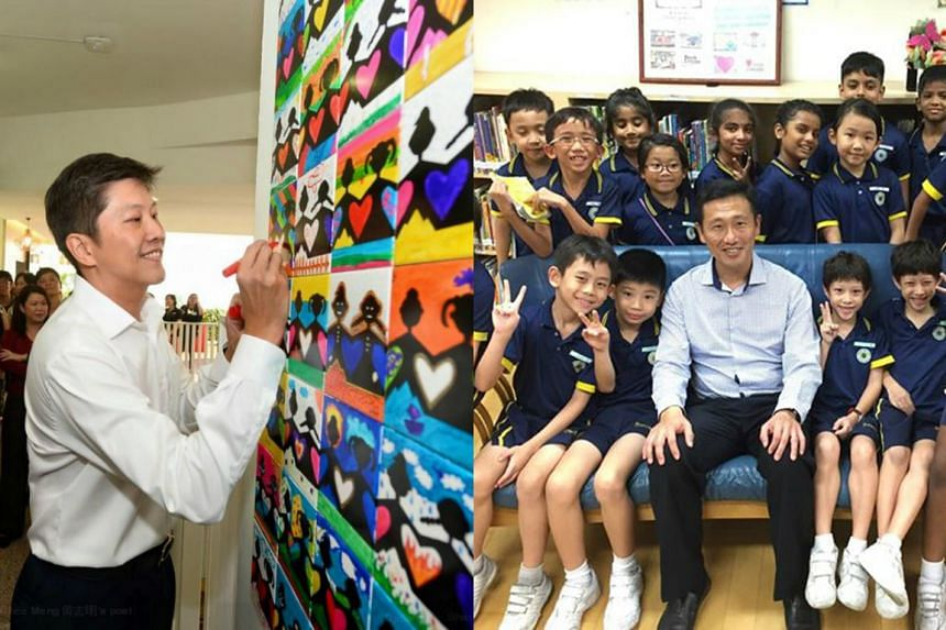 Acting Education Minister Ng Chee Meng (left) when he visited Bukit View Primary on Oct 2. Acting Education Minister Ong Ye Kung (right) with Sembawang Primary children.
