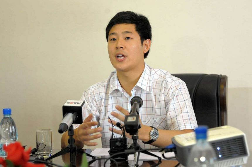 South Korean student Joo Won Moon being interviewed by the media in Pyongyang on Sept 25, 2015.