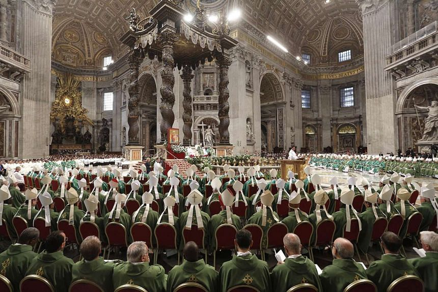 Prelates during the opening mass of the XVI Ordinary Meeting of the Synod of Bishops, celebrated by Pope Francis, in St Peter's Basilica in the Vatican City yesterday.