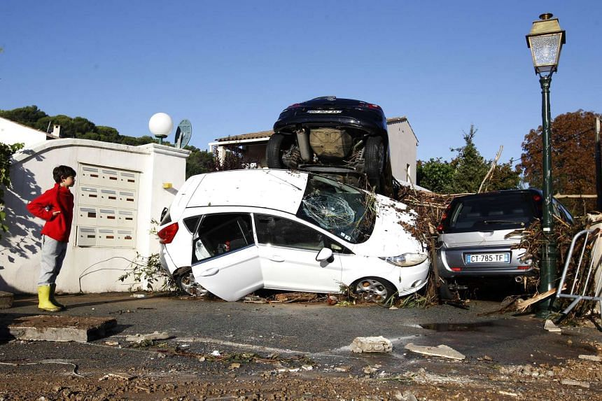 Streets in Biot were strewn with rubble and damaged cars after violent storms and floods hit the town in south-eastern France yesterday. The glamorous cities of Cannes, Nice and Antibes were also badly affected.