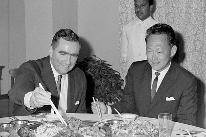 Lord Healey and founding prime minister Lee Kuan Yew at their first meeting in Singapore in 1966 to discuss British defence spending.