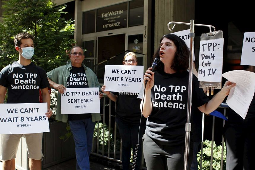 A protest outside the hotel where the Trans-Pacific Partnership Ministerial Meetings were being held in Atlanta, Georgia, on Sept 30, 2015.