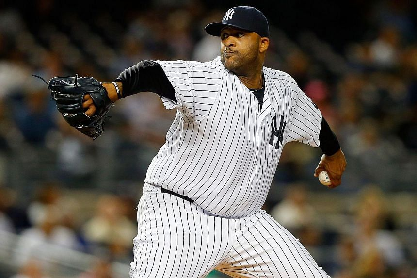 C.C. Sabathia of the New York Yankees pitches in the second inning against the Chicago White Sox at Yankee Stadium on Sept 25, 2015, in the Bronx borough of New York City.