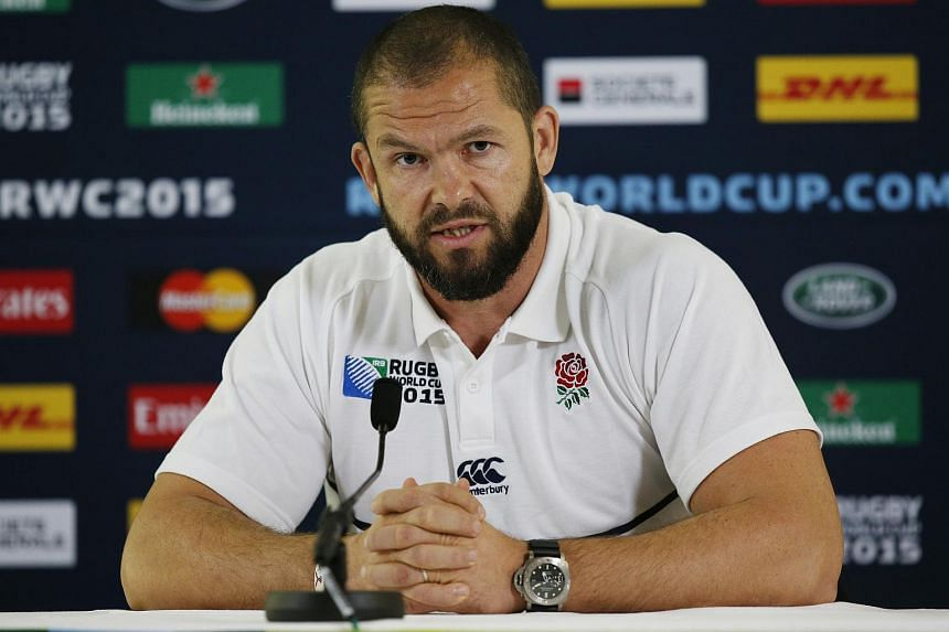 England backs coach Andy Farrell at a press conference on Oct 5.