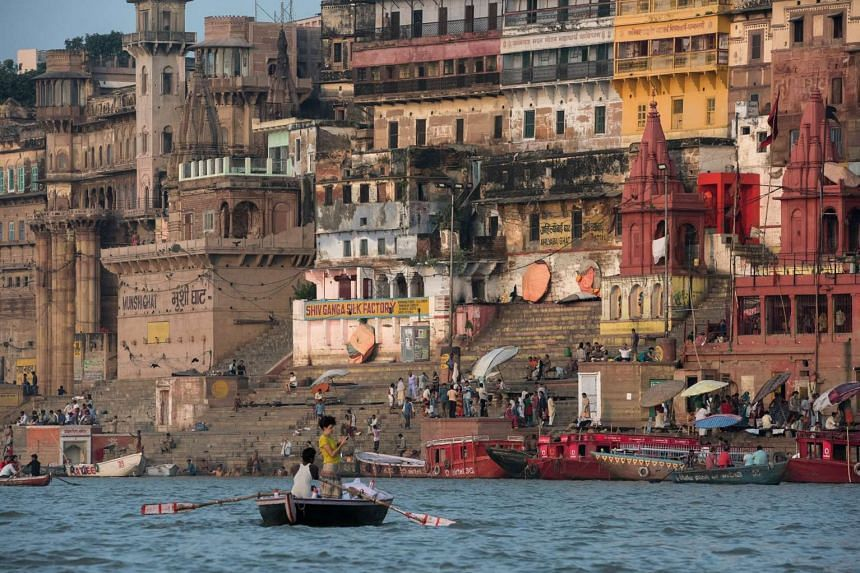 The Indian holy city of Varasani lies along the River Ganges, which is visited every year by millions of people.