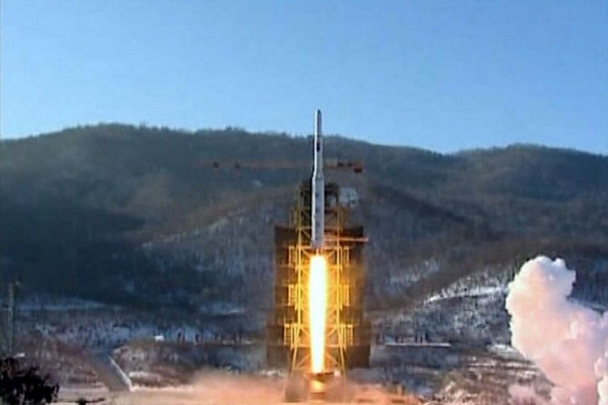 A file photo of a video grab showing a Unha-3 (Milky Way 3) rocket launching at the North Korea's West Sea Satellite Launch Site on Dec 13, 2012.
