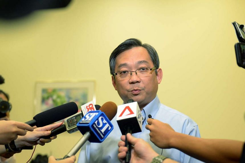 Health Minister Gan Kim Yong speaking on the sidelines of a press conference by SGH on an outbreak of hepatitis C in the hospital.