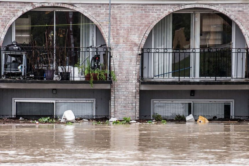 Possessions are stacked in second floor apartments during heavy flooding on Sunday in Columbia, South Carolina in the US.