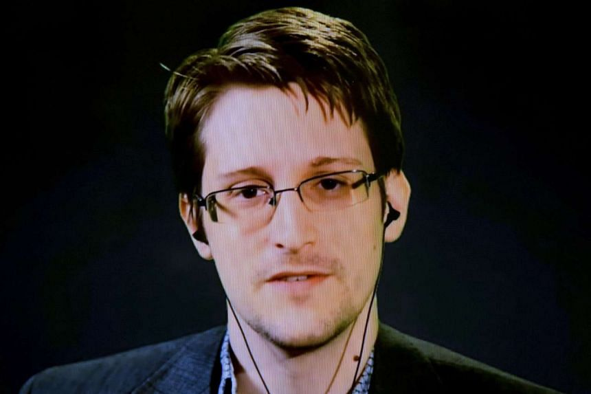 American whistleblower Edward Snowden delivers remarks via video link from Moscow.