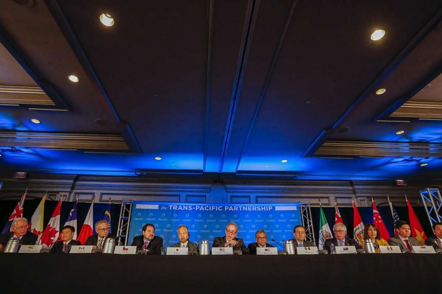 Trade ministers from the twelve Trans-Pacific Partnership (TPP) member countries participate in the closing press conference in Atlanta, Georgia, USA, 05 October 2015. PHOTO: EPA